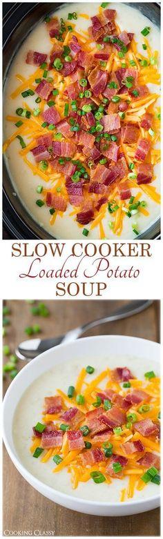 Gluten-Free Slow Cooker Loaded Potato Soup Recipe