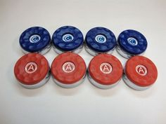 """8 American Shuffleboard Pucks - 2-5/16"""" by Champion. $134.99. 8 American Shuffleboard Pucks - 2-5/16"""".  Made from heavy chrome plated steel.  Plastic caps screw on and are replaceable. High quality weight is balanced for better feel and control.  Full Set of 4 Red and 4 Blue Weights"""