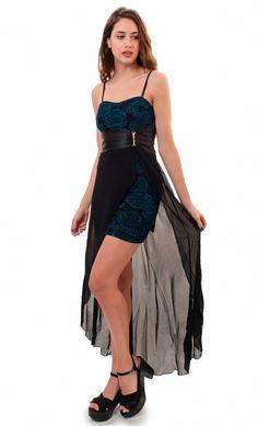 Vestido De Fiesta, Cola De Gasa, Brishka, V-0017 - $ 845,00 en MercadoLibre