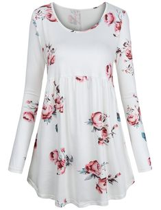 afb9040fa25 FANSIC Women Floral Tops,Long Sleeve Empire Waist A Line Flowy Tunics  Blouses Floral Sleeve