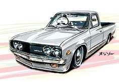 "car illustration original cartoon ""mame mame rock"" / (c). Hot Rod Trucks, Mini Trucks, Supercars, M2 Bmw, Arte Lowrider, Car Animation, Nissan Sunny, Nissan Trucks, Datsun 510"