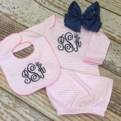 Monogrammed pink stripe gown with matching bow by skkilby21
