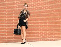 The gorgeous @Megan Zietz created an edgy look pairing this @Lori Goldstein top with stilettos and leopard print #TSV