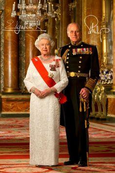 Queen Elizabeth II (Elizabeth Alexandra Mary) UK & husband Prince Phillip Duke of Edinburgh (Philip Mountbatten-born Prince Philip) Greece, by unknown artist. Elizabeth Philip, Queen Elizabeth Ii, Queen Liz, Crown Princess Mary, Prince And Princess, Palais De Buckingham, Prinz Philip, British Royal Families, Royal Queen