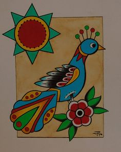 Dutch Bird 8x10 original folk art german by BlueBirdFolkArt