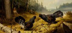 Ferdinand von Wright: Taistelevat metsot, 1886, Finland Ferdinand, Wildlife Art, Finland, Watercolor Art, Artsy, Animals, Vintage, Kulta, Design