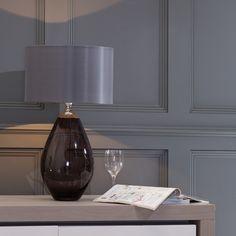 Lighting up your home Everyday Luxury Nivian Glass Table Lamp - Smoke Grey
