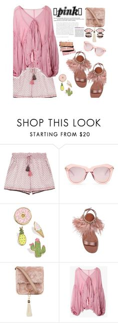 """""""It was love at first sight"""" by meryfern ❤ liked on Polyvore featuring Talitha, Karen Walker, Celebrate Shop, Miu Miu, Brother Vellies, Nak Armstrong, Pink, polyvorecontest, polyvorefashion and polyvoreset"""