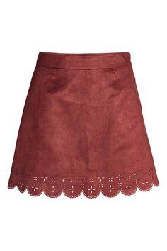 Imitation suede skirt - Red - Ladies | H&M GB