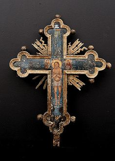 17th Century Processional Cross Depicting Baptism on One Side and Crucifixion on Reverse Side