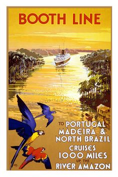 Booth Line Amazon cruises vintage travel poster