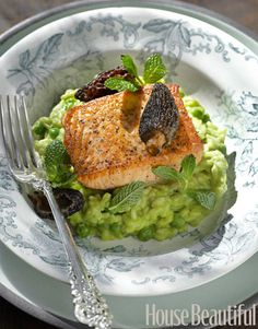 A perfect dish for spring: salmon and pea risotto by Tyler Florence. Photo: John Lee. housebeautiful.com #recipes #risotto