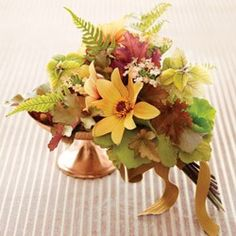 Bright Bouquets for Every Type of Bride   Martha Stewart Weddings - Verbena, Dahlia, Plectranthus, Autumn Ferns, and Leaves