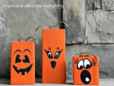 I love Halloween! The decorations, the treats, the craft projects, the costumes, the excitement of the season. Here are 13 creative Halloween ideas to help get you excited and ready for the upcoming holiday. Diy Halloween, Halloween Wood Crafts, Adornos Halloween, Holidays Halloween, 4x4 Crafts, Fall Crafts, Holiday Crafts, Thanksgiving Decorations, Halloween Decorations
