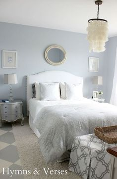 """ A master bedroom should be a sanctuary where you can retreat from the craziness of life and that was my goal for this room. I wanted it to be cool and relaxing, but bright."""