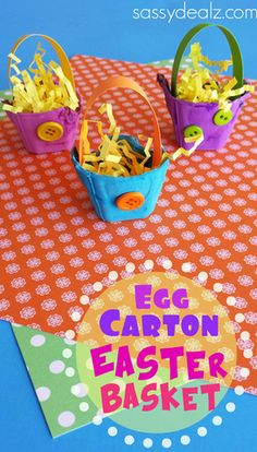Egg Carton Easter Basket Craft for Kids... Get out your recycled egg cartons to make an Easter basket! This is a fun kids craft for the holiday!