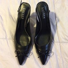 FinaleRalph Lauren Pointed slingback black pumps Worn once for a while. Condition is just like new. Pointed closed-toe slingback pumps. 3 1/2 inch heel. Size 8.5B (medium fit) but fits like a size 8M. Will ship ASAP.❤️ Ralph Lauren Shoes Heels