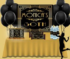 Check out our harlem nights party selection for the very best in unique or custom, handmade pieces from our weddings shops. Harlem Nights Party, Black Gold Party, Night Wedding Photos, Roaring 20s Party, Great Gatsby Party, Engagement Party Decorations, Birthday Backdrop, Art Deco Wedding, Party Centerpieces
