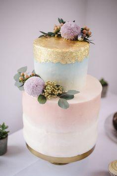 Watercolour Pastel Ombre Cake Gold Leaf Flowers Stylish Clean Modern City Wedding https://mybeautifulbride.co.uk/