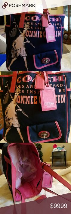 🍃MINT🍃Coach🖤RARE🖤💖💙Bonnie Cashin💖💙 XL Tote Coach🖤RARE🖤HTF🖤 💖💙Bonnie Cashin💖💙 XL Tote. This is THE bag for travel! Sturdy & BIG both. Inspired by Coach famous designer, Bonnie Cadhin. Has the expected attached coin purse on front, 1 slip pocket back. 2 working turnlocks on each side with pockets. Inside: 1 Zip, 1 slip & full, deep top to bottom. Heavy Twill Canvas holds up! Leather trim, hangtag, luggage tag.  🚫NO stains. Very minute' rub leather bottom (pic) is a non-issue…