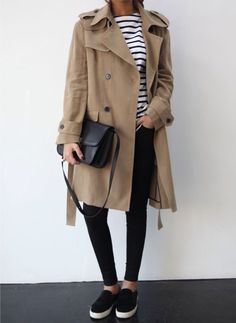 stripes + trench + black + slip-ons/vans
