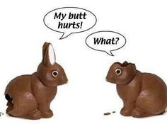 A little Easter humor. Please note: to the best of my knowledge, no bunny was harmed to create this funny. Funny Cute, Funny Jokes, Funny Stuff, Funny Things, Random Stuff, Random Things, Funny Sarcastic, Funny Food, Thoughts