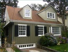paint colors for houses with brown roofs - Google Search                                                                                                                                                     More