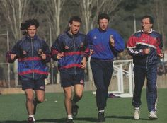 Barcelona's Fernando Couto , Laurent Blanc and Gheorge Popoescu in training, 1996-97