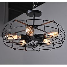 Hahaemall Vintage Style Metal Art Ceiling Light Painted Finish Fans Shade (Bulbs Not Included))