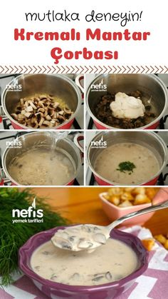 How to make a wonderful creamy mushroom soup recipe Creamy Mushroom Soup, Mushroom Soup Recipes, Creamy Mushrooms, Stuffed Mushrooms, Good Food, Yummy Food, Vegetable Drinks, Turkish Recipes, Healthy Eating Tips