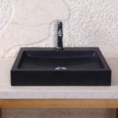"Perfect for master bath :: Nester Vessel Sink - black granite w/ Shanxi black finish (honed) - on Overstock - 19.7"" wide x 19.5"" deep x 3.1"" high - $549 (reg $589)"