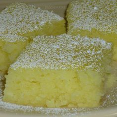 Mix one box angel food cake mix with 42oz of canned lemon pie filling, bake at 350° for 25min, cool, sprinkle with powdered sugar..
