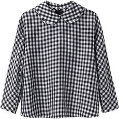 CdG CdG Gingham Top ($267) ❤ liked on Polyvore featuring tops, shirts, blouses, long sleeved, long sleeve tops, boxy top, white and black shirt, gingham top and peter pan collar shirt