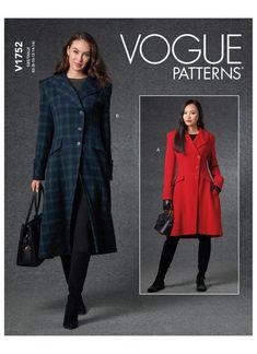 Vogue Sewing Pattern 1752 Coat – jaycotts.co.uk - Sewing Supplies Coat Pattern Sewing, Coat Patterns, Vogue Patterns, Coats For Women, Jackets For Women, Couture, Long Sleeve Tunic, Dress With Bow, Lining Fabric