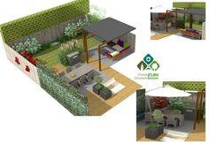 3-D visualisatie tuinontwerp. Gezinstuin met veranda, waterval/sleuf met led verlichting, kunstgras en vlonder van composiet met ingebouwde zandbak. Modern maar ook romantisch!