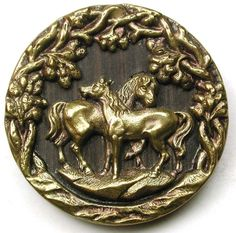 Wonderful antique brass button. Lovely pastoral equestrian scene of a two horses together. Very good condition. | eBay!