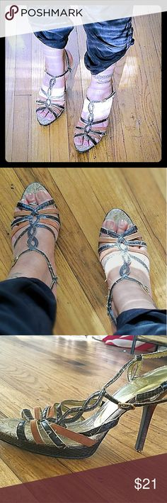 """Strappy Guess Heels 3"""" faux leather and suede strappy platform heels from guess. Snakeskin trim along the 1/4"""" platform. Some stray threads on shoe and they need new taps. Brocade pattern insole. Guess Shoes Heels"""