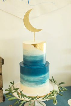 """Moon cake from a """"Love You to the Moon"""" Rustic Baby Shower on Kara's Party Ideas 