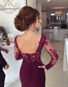 The long sleeve lace prom dresses are fully lined, 8 bones in the bodice, chest pad in the bust, lace up back or zipper back are all available, total 126 colors are available. This dress could be custom made, there are no extra cost to do custom size and color. Description of homecoming dress...