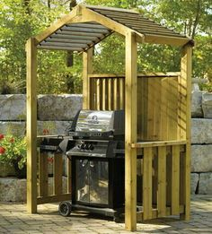 Pergola With Metal Roof Info: 4700662006 Bbq Shelter Ideas, Outdoor Rooms, Outdoor Living, Bbq Shed, Outdoor Grill Station, Grill Gazebo, Bbq Cover, Grill Covers, Backyard Bar