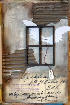 Cool art journal page by Donna Downey - love how she used cardboard, gesso, paint, collage & oil pastels!