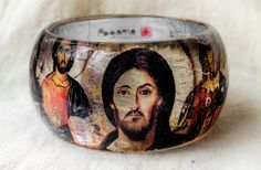 Orthodox Icons Bangle. Resin Bracelet of Jesus Christ. Silver foil at the back side looks like real Icon. Statement bracelet. Art & Fait - pinned by pin4etsy.com