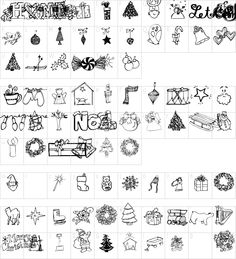 Christmas doodles character map
