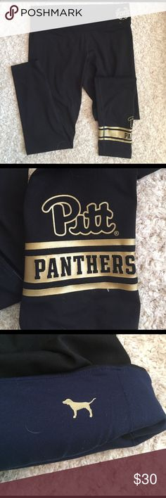 VS Pink-Reversible ultimate leggings!! VS Pink Collegiate Collection. Pitt panthers at bottom of left leg. Reverses into solid black with blue waist band. Size large. Pair 2 of 2 PINK Victoria's Secret Pants Leggings