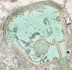 The Regent's Park in London by John Nash. A map from 1830. >>> Before the zoo, looks like. Probably from a 6 inches-to-the-mile series - beautiful levels of detail in the cartography.