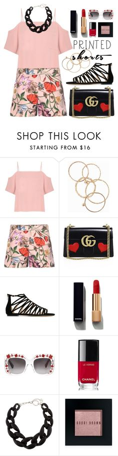 """#printedshorts"" by miee0105 ❤ liked on Polyvore featuring T By Alexander Wang, NLY Accessories, Gucci, Jimmy Choo, Chanel, DIANA BROUSSARD, Bobbi Brown Cosmetics, gucci and printedshorts"