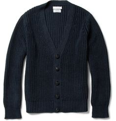 Fitted Dark Knit Cardigan
