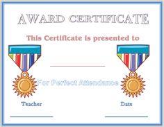 Perfect Attendance Award Certificate Template