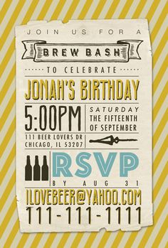 Brew Bash Birthday Party Invitation - Yellow & Brown - Beer Tasting - Brew Bash - Manly Birthday invite - Printable - Digital file only. $25.00, via Etsy.