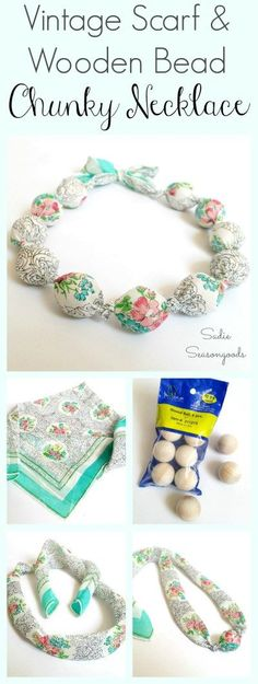 Have a gorgeous, vintage scarf that is damaged or stained? Repurpose the good parts into a easy-to-make DIY chunky necklace using large round beads! It's a simple upcycle craft project that anyone can do... inexpensive... and the end result is beautiful and trendy! #SadieSeasongoods / www.sadieseasongoods.com